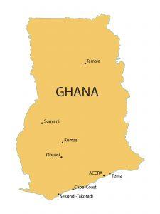 Ghana map / chrupka, Shutterstock