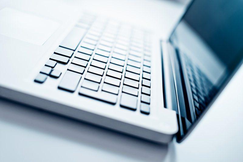 An open laptop.