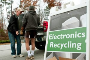 Electronics recycling collection event.