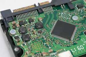 Close up of a circuit board.