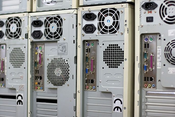 Computer towers gathered for recycling.