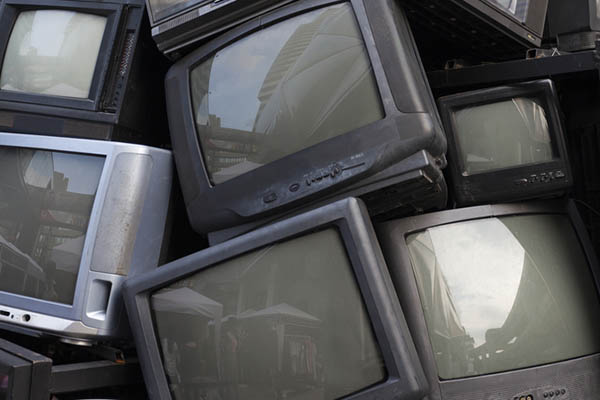 CRT monitors for recycling.