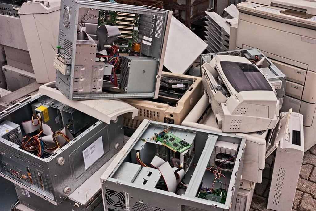 Various e-scrap gathered for recycling.