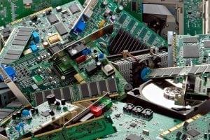 A pile of mixed e-scrap.