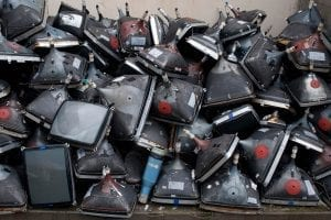 A pile of CRTs gathered for recycling.