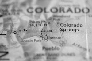 A map showing Canon City, Colo.