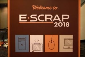 Sign welcomes attendees to the E-Scrap Conference.