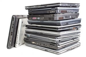 A stack of laptop computers.