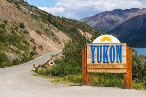 Road sign for Yukon Territory, Canada.