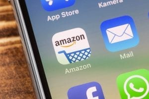 iPhone screen with the Amazon icon.