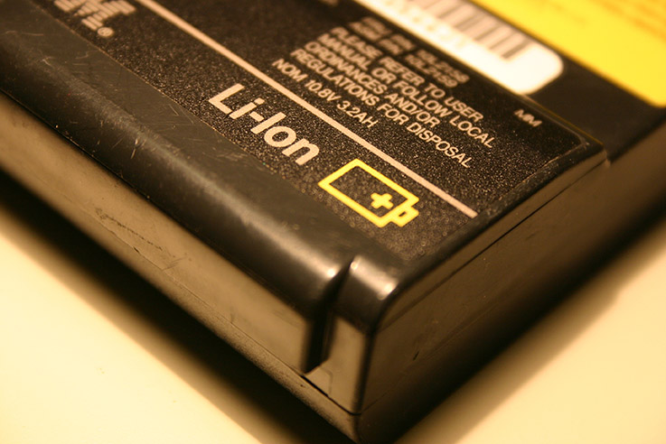 Close-up of a Li-ion battery.