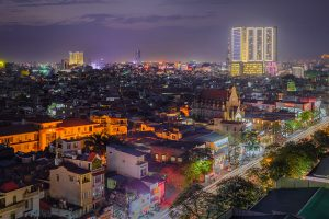Hai Phong, Vietnam skyline at night.