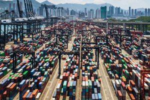 Aerial view of a cargo at a Hong Kong shipping terminal.