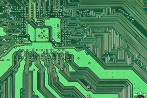 Close up of a printed circuit board.