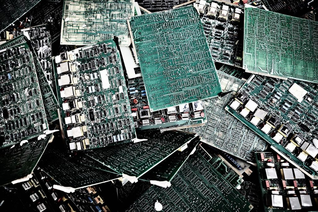 A pile of circuit boards for recycling.