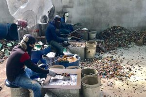Workers processing e-scrap in Thailand.