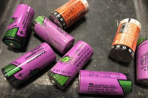 Close up of lithium-ion batteries for recycling.