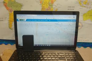 Laptop computer showing GPS tracking.