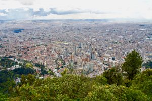 Bogota, Colombia seen from above.
