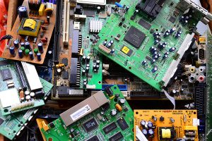 Circuit boards gathered for recycling.