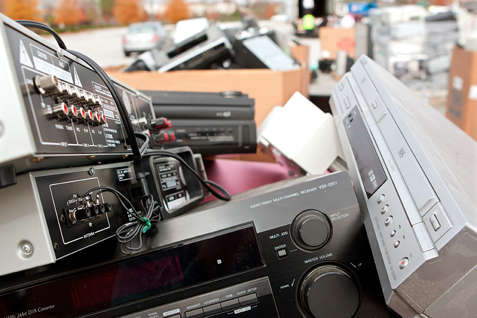 Various electronic devices gathered for recycling.