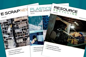 Covers of Resource Recycling Inc. publications.