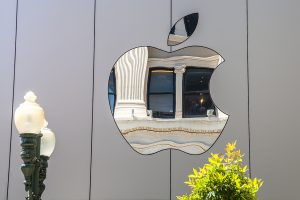 Apple logo on the company's headquarters in California.