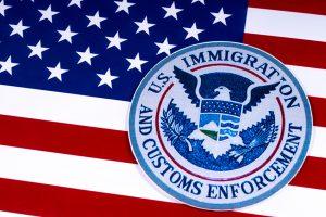 U.S. flag with ICE logo.