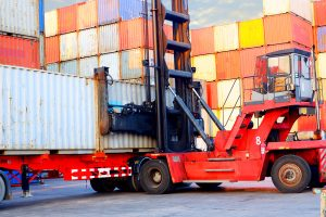 Loading cargo at a logistics hub.
