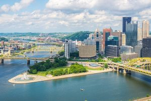 Pittsburgh city center with river and bridges.