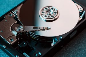 Closeup of a used hard drive.