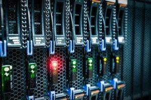 Closeup of a server rack.