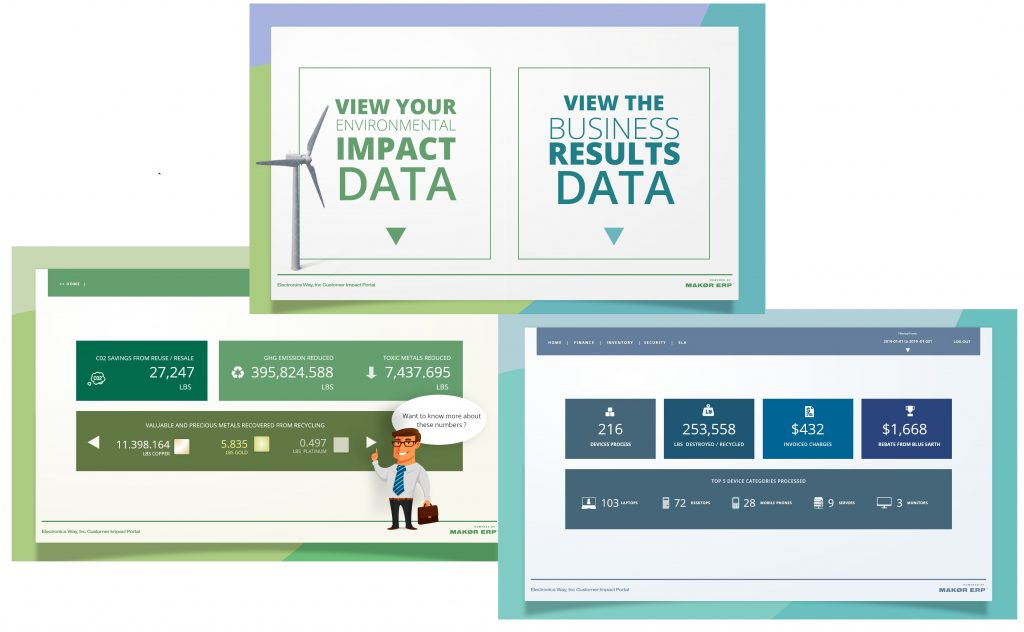 Makor's Customer Impact Portal provides a variety of types of information to material generators.   Image courtesy of Makor Solutions