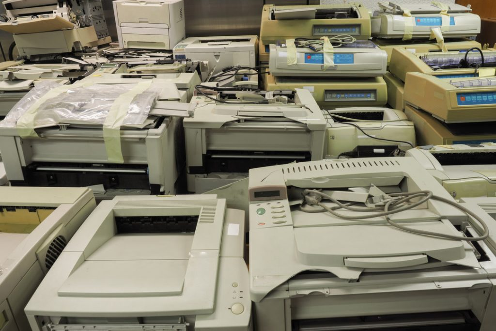 Old printers for recycling.
