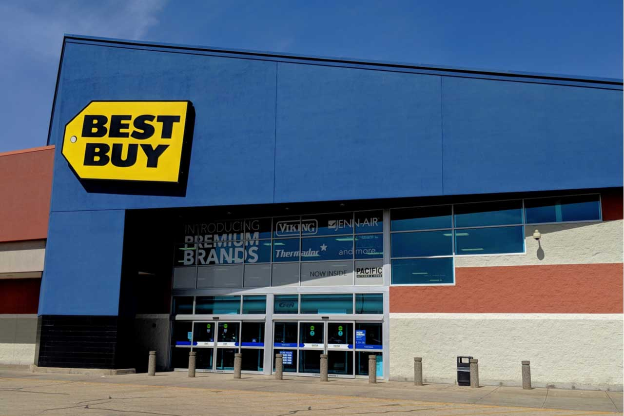 Exterior of a Best Buy retail location.