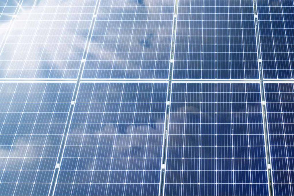 Closeup on a solar panel.