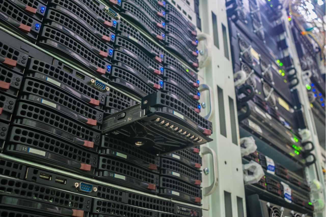 Hard drive closeup in a server rack.