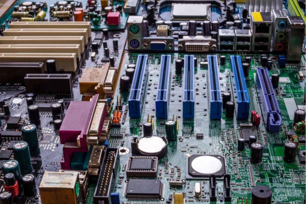Closeup of an e-scrap motherboard.