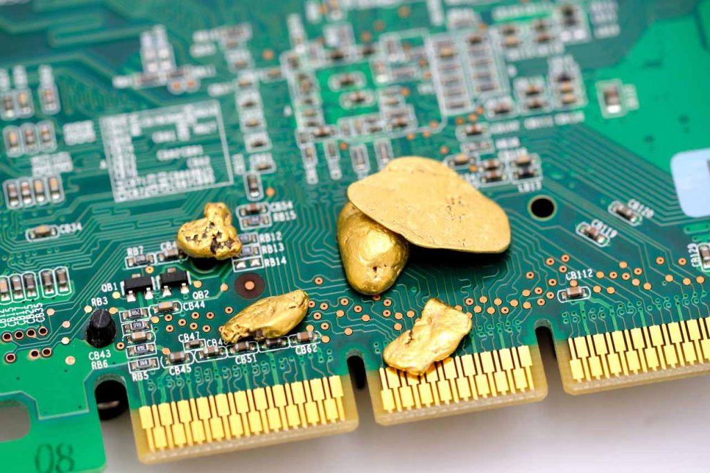 Gold on a scrap circuit board.