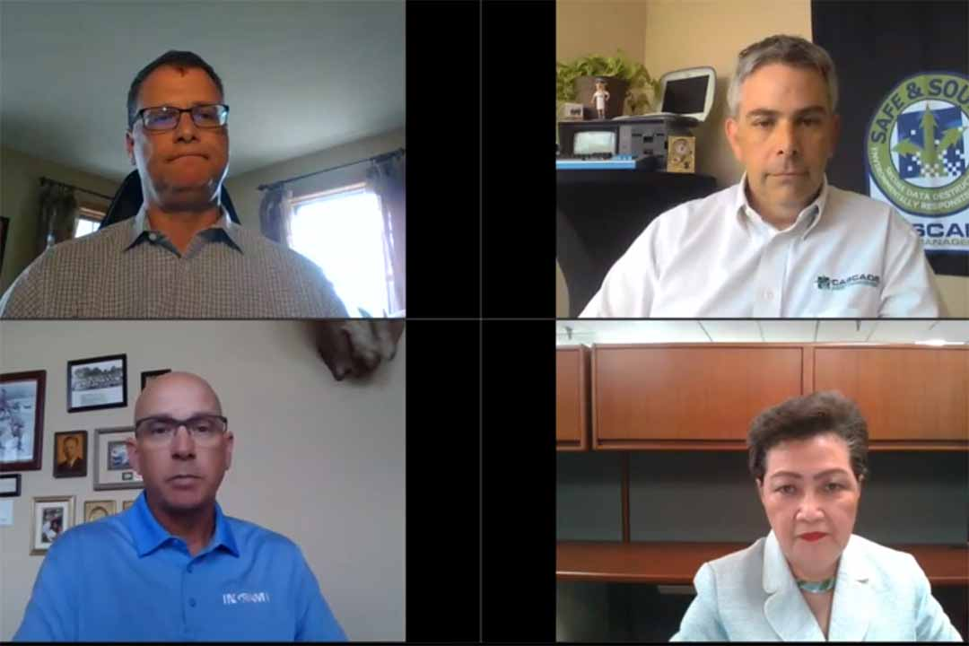 Clockwise from upper left: Joseph Harford of Reclamere moderated a July 23 webinar that featured Neil Peters-Michaud of Cascade Asset Management, Jade Lee of Supply-Chain Services and Brent Berry of Ingram Micro.