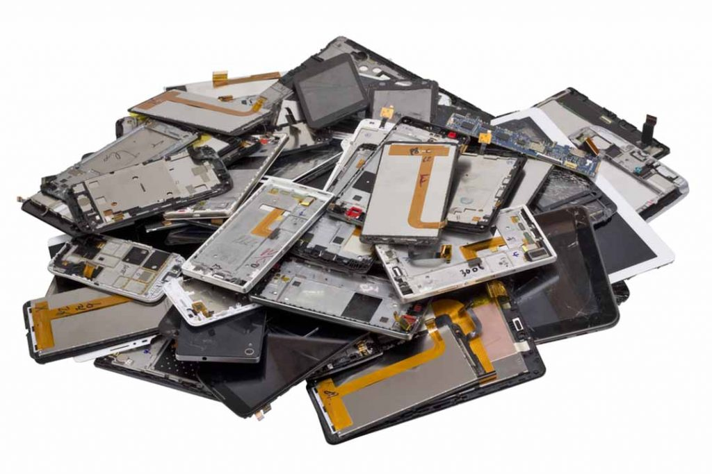 Mobile devices for e-scrap processing.