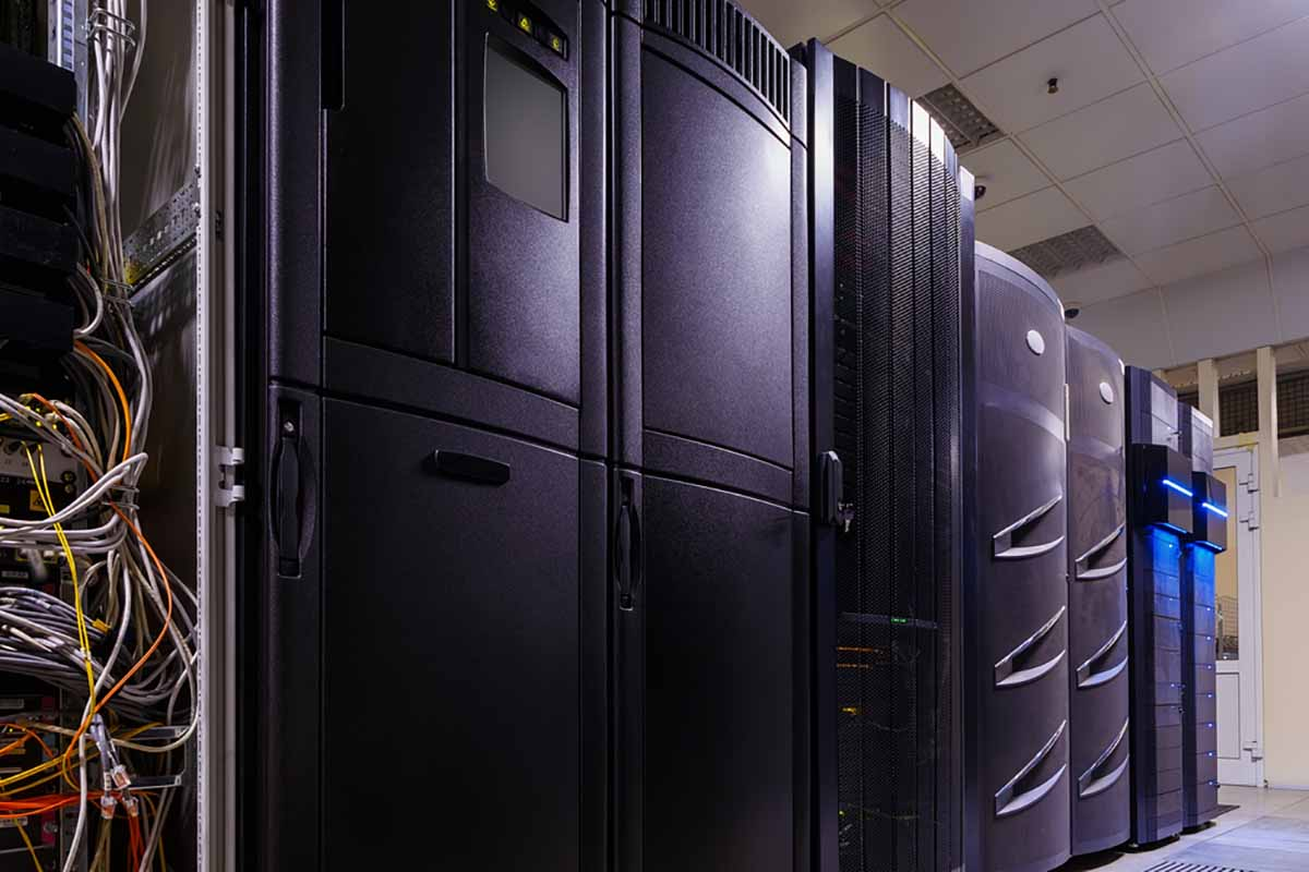 Inside a data center server room.