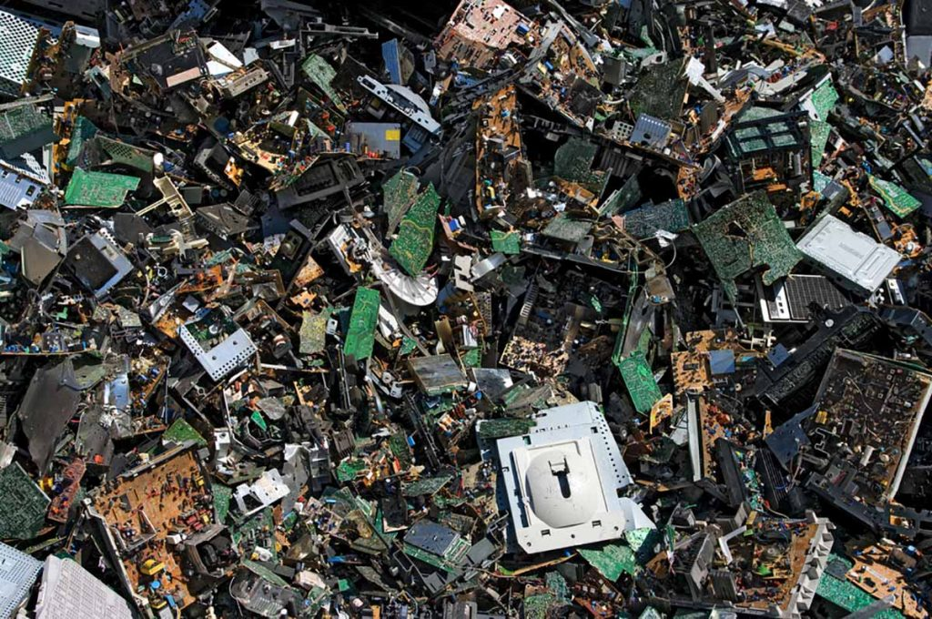 E-scrap piled for recycling