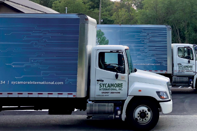 Sycamore International trucks in the company's parking lot.