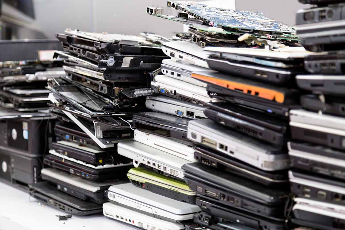 Laptops gathered for repair or recycling.