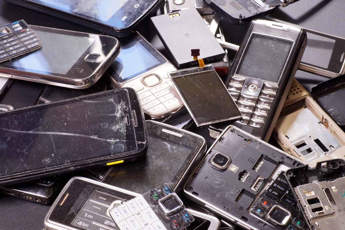 Scrap electronics piled for recycling.