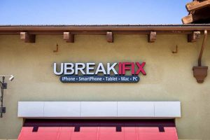 The sign of a UBreakIFix location in California.