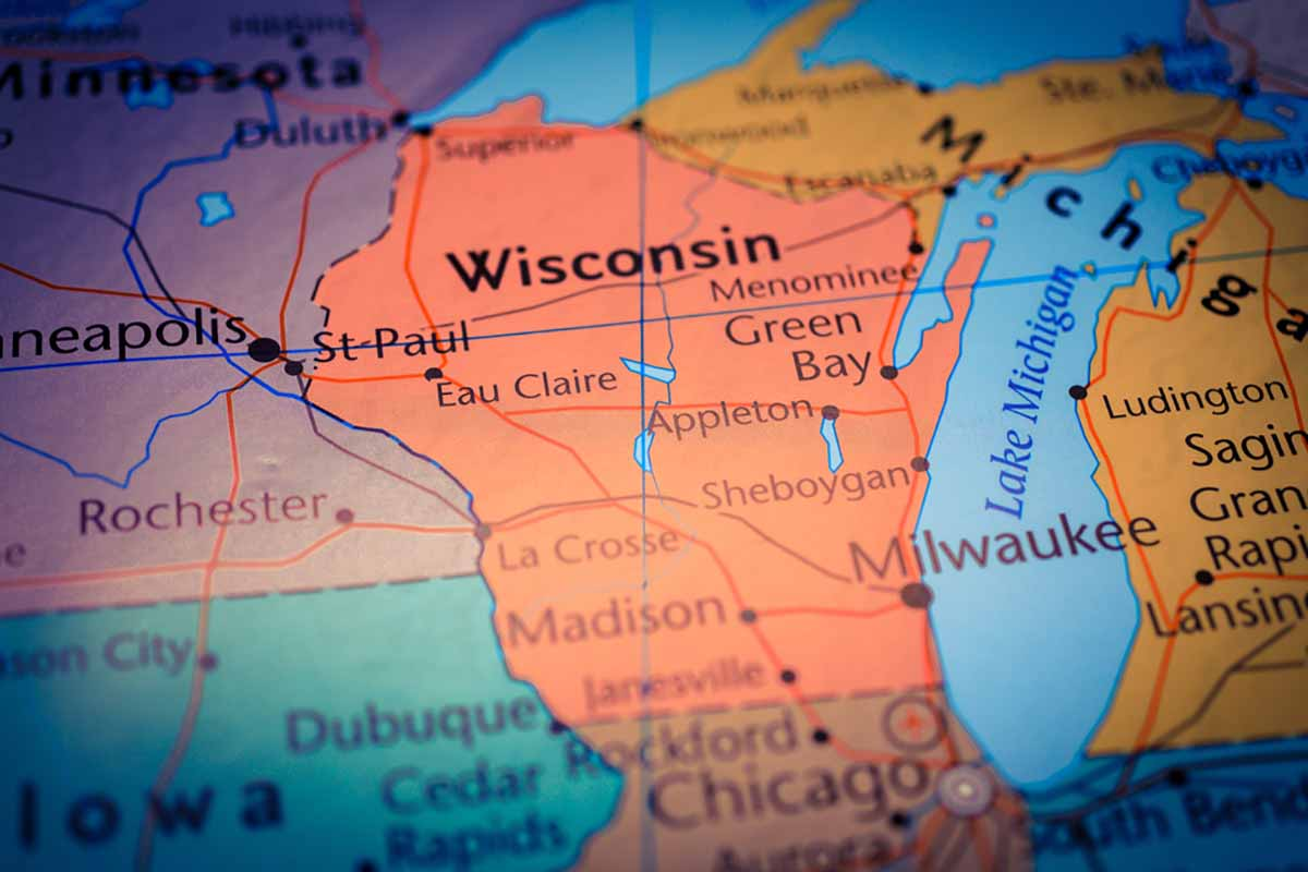 View of Wisconsin and surrounding area on a map.