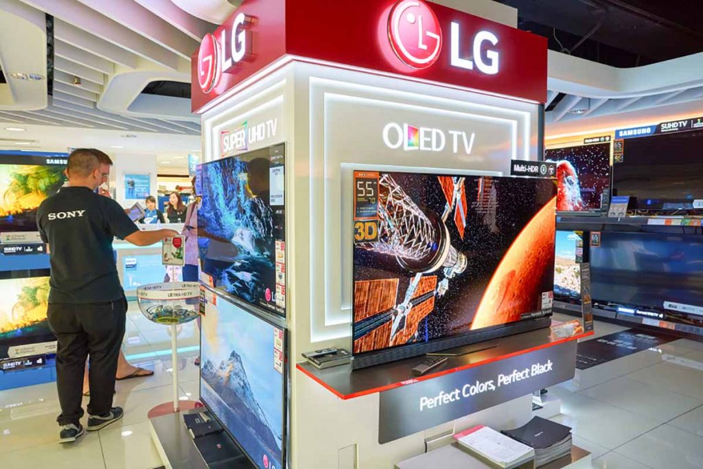 Store display of LG OLED televisions.