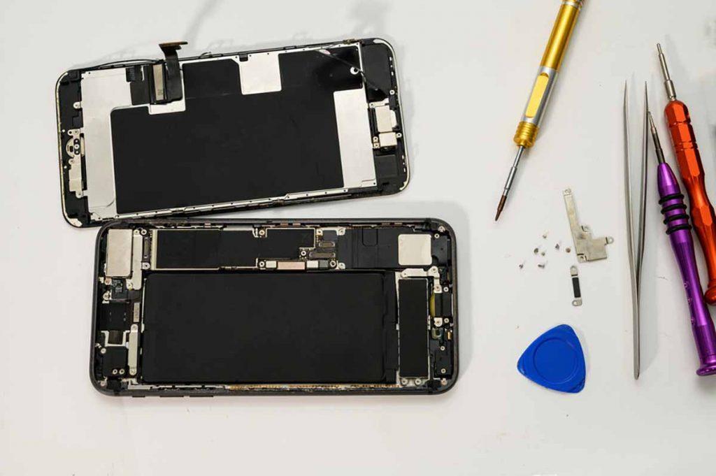 Repairing a mobile phone.